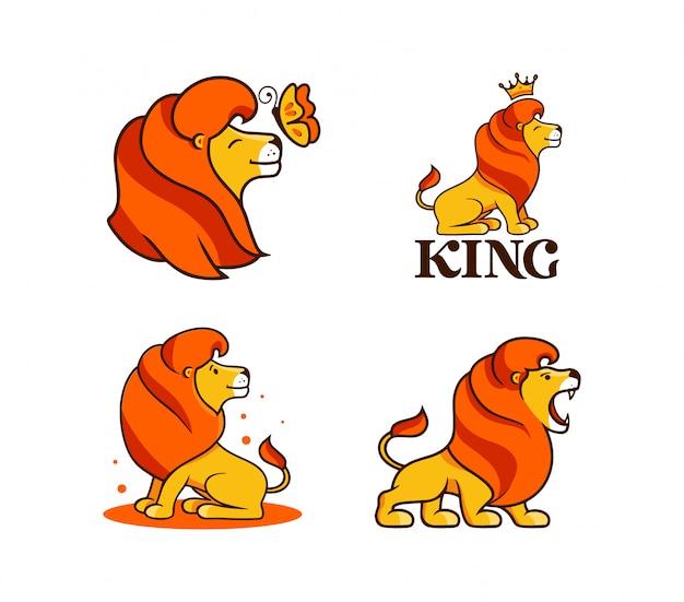 O rei leão, conjunto de logotipos. personagens de desenhos animados de coleção