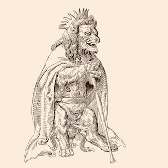 O rei leão da coroa, com um cajado nas patas e uma capa nos ombros, senta-se em uma cadeira.