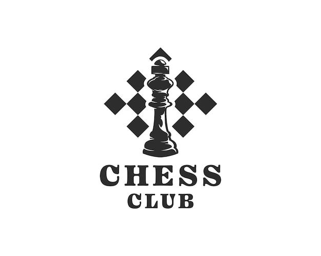 O rei no símbolo do xadrez com um modelo de design de logotipo de campeonato de xadrez de fundo de tabuleiro de xadrez