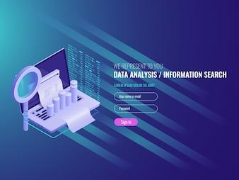 O relatório no computador, programa de estatísticas e análises