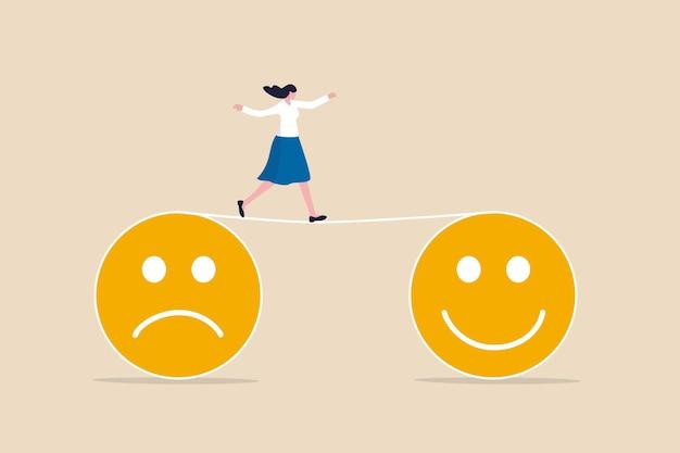 O relaxamento torna a ansiedade ou estressada para feliz, alívio otimista ou terapia de doença de metal, transtorno bipolar ou conceito de pensamento consciente, mulher deprimida caminha na linha da tristeza ao rosto de felicidade.