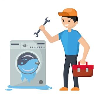 O reparador está reparando a máquina de lavar que está fluindo.