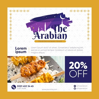 O restaurante árabe com comida deliciosa panfleto quadrado