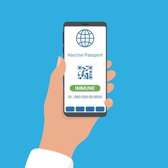 O resultado da covid-19 imune na aplicação de um passaporte de vacina digital para smartphone.