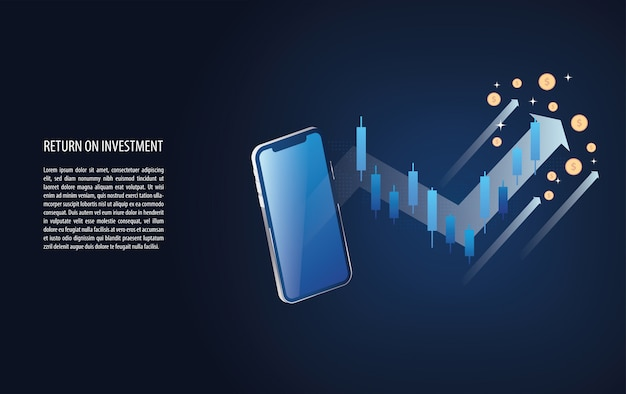 O retorno sobre o investimento gráfico roi e gráfico aumentam com o sinal de castiçal forex