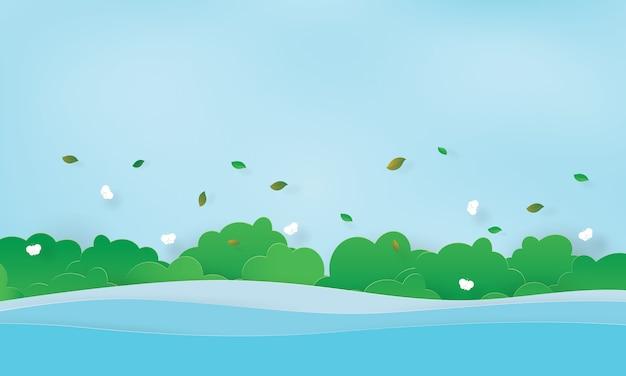 O rio e arbustos verdes com borboleta, horário de verão