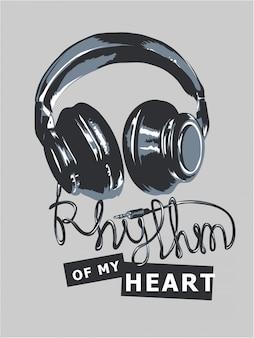 O ritmo do slogan do coração do mu com auscultadores