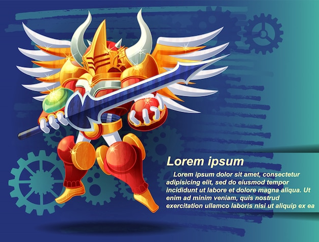 O robô cavaleiro e sua espada.