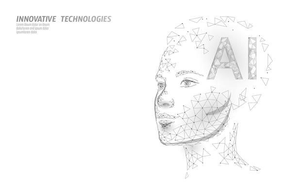 O robô de inteligência artificial ai suporta 3d. tecnologia de serviço de reconhecimento de voz de assistente virtual. chatbot lindo rosto feminino poli baixo