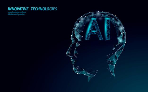 O robô de inteligência artificial ai suporta 3d. tecnologia de serviço de reconhecimento de voz de assistente virtual. chatbot perfil do cérebro humano low poly