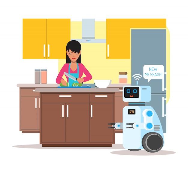 O robô doméstico de assistência pessoal ajuda seu dono em casa. ilustração de conceito de tecnologia de robótica