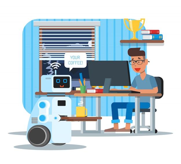 O robô doméstico de assistência pessoal leva café para o dono em casa. ilustração de conceito de tecnologia de robótica