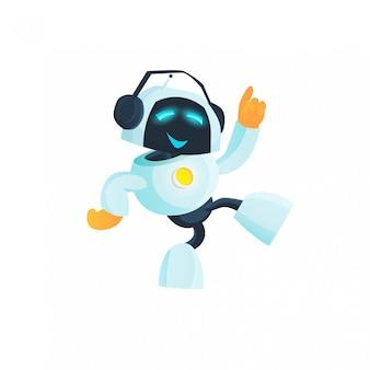 O robô está dançando, ouvindo música, dj. inteligência artificial, etiqueta, futuro, aprendizado de máquina