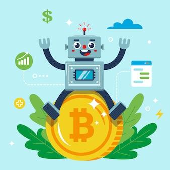 O robô está sentado em uma moeda de bitcoin