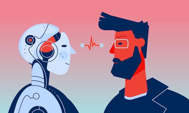 O robô homem e homem com inteligência artificial olhando um para o outro