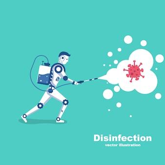 O robô mata a bactéria coronavírus. conceito de desinfecção.