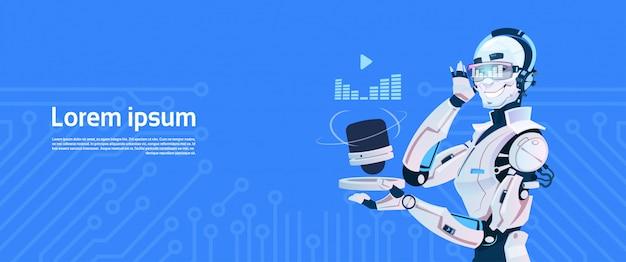 O robô moderno escuta o rádio da música, tecnologia futurista do mecanismo da inteligência artificial