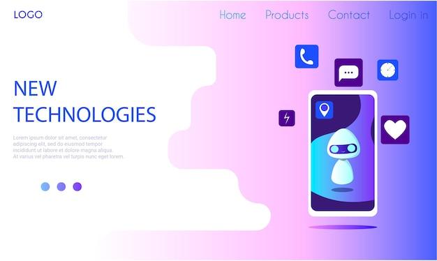 O robô na tela do telefone com ícones de diferentes aplicativos. modelo de página de destino