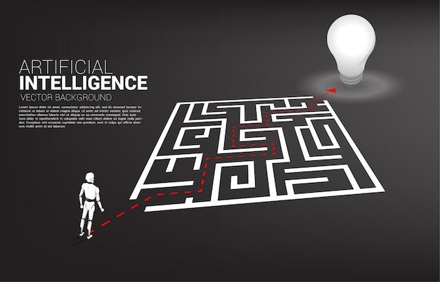 O robô que está no caminho da rota contorna o labirinto até o gol. conceito de ia para resolução de problemas e descoberta de ideias.