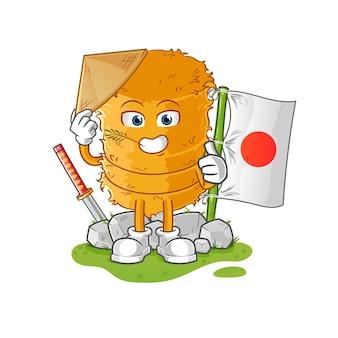O rolo de palha japonês. personagem de desenho animado