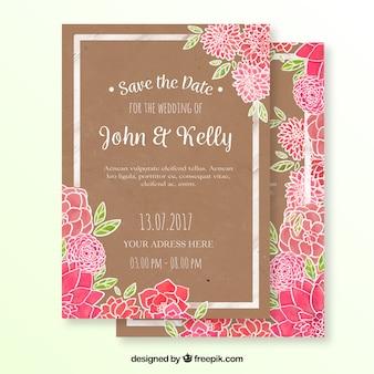 O rosa floresce o cartão de casamento