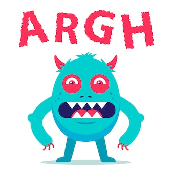 O rosnado de um terrível monstro azul. a criança teve um pesadelo. ilustração plana isolada no fundo branco.