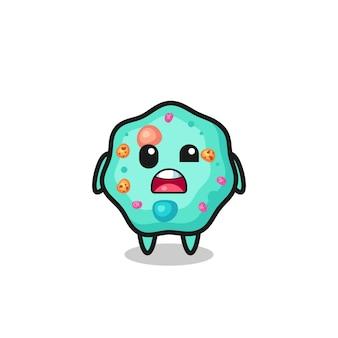 O rosto chocado do mascote ameba fofo, design de estilo fofo para camiseta, adesivo, elemento de logotipo