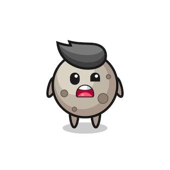 O rosto chocado do mascote da lua fofa, design de estilo fofo para camiseta, adesivo, elemento de logotipo