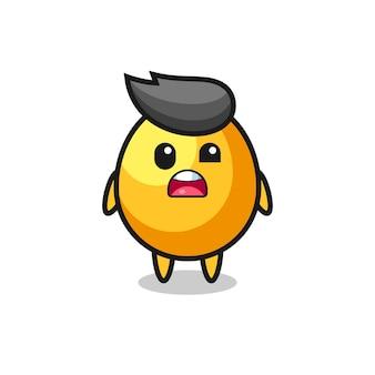 O rosto chocado do mascote do ovo de ouro fofo, design de estilo fofo para camiseta, adesivo, elemento de logotipo