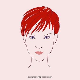 O rosto de mulher bonita no estilo desenhado mão
