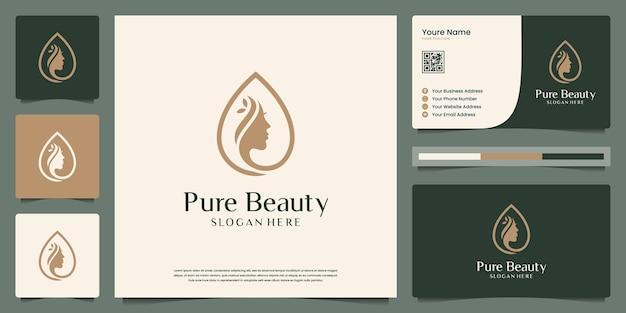 O rosto de mulheres de beleza combina design de logotipo de gotas e cartão de visita. símbolo para salão de beleza, spa.