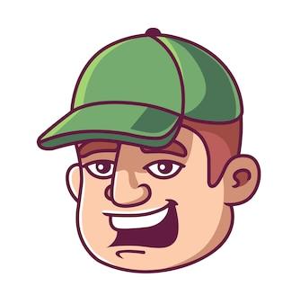 O rosto de um homem de boné verde. homem sorri.