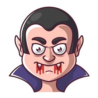 O rosto de um vampiro drácula com sangue na boca.