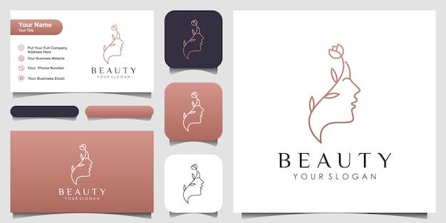 O rosto de uma mulher bonita combina flores com logotipo de estilo de linha de arte e design de cartão de visita.