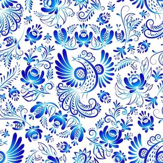 O russo ornaments o teste padrão sem emenda da arte de gzhel, a ilustração de flores coloridas azuis e o pássaro.
