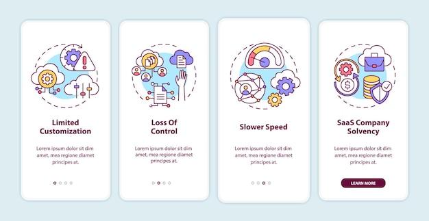 O saas desafia a integração da tela da página do aplicativo móvel com conceitos. personalização limitada, etapas de passo a passo de velocidade mais lenta. modelo de iu com cor rgb