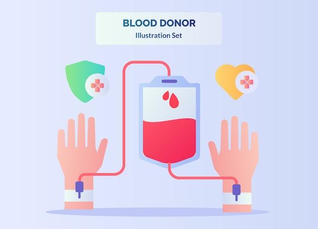 O sangue retirado com a mão na bolsa flui com a outra mão