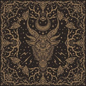 O satânico baphomet vintage pattern design