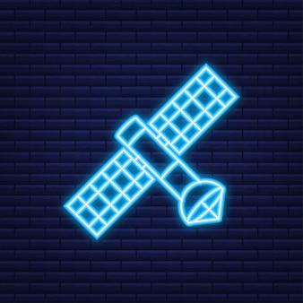 O satélite. satélites artificiais orbitando o planeta terra gps. ícone de néon. ilustração vetorial.