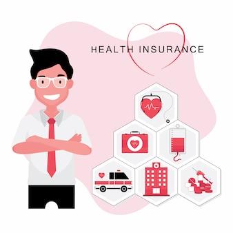 O seguro de saúde apresenta um homem com uma foto de uma ambulância e uma placa de hospital