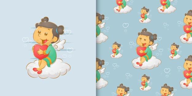 O sem costura da garota fada doodle segurando o amor e sentado na nuvem da ilustração