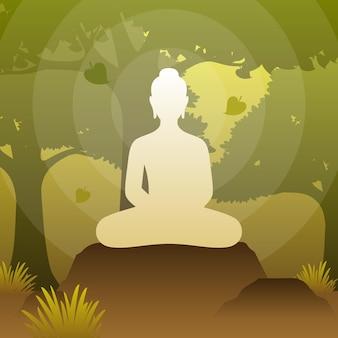 O senhor buda está sentado sob a árvore bodhi em pose de meditação na floresta