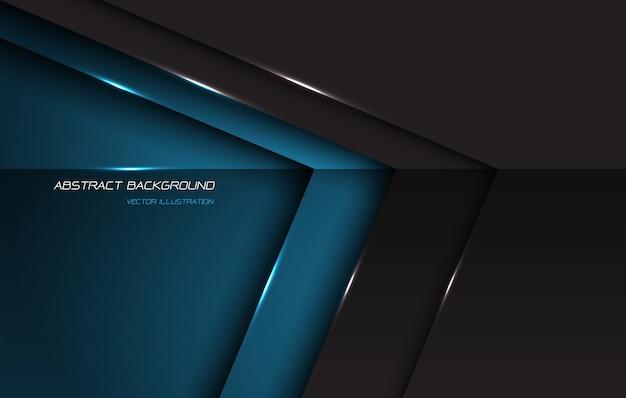 O sentido lustroso metálico abstrato da seta do cinza azul com espaço e texto vazios projeta o fundo futurista moderno.
