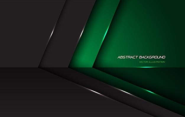 O sentido lustroso metálico cinzento verde abstrato da seta com espaço e texto vazios projeta o fundo futurista moderno.