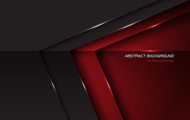 O sentido lustroso metálico cinzento vermelho abstrato da seta com espaço e texto vazios projeta o fundo futurista moderno.