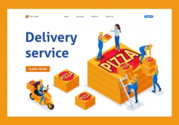 O serviço de entrega isométrica coleta o pedido, a garota da bicicleta leva uma pizza landing page