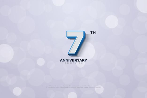 O sétimo aniversário de um fundo listrado de azul com os números na borda das figuras