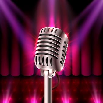 O show musical, microfone na cena vermelha. ilustração vetorial