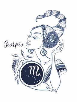 O signo astrológico de escorpião como uma menina bonita