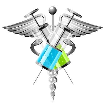 O símbolo da instituição médica são seringas, cobras e asas. ilustração vetorial